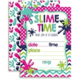 """Slime Birthday Party Invitations for Girls, Ten 5""""x7"""" Fill In Cards with 10 White Envelopes by AmandaCreation"""