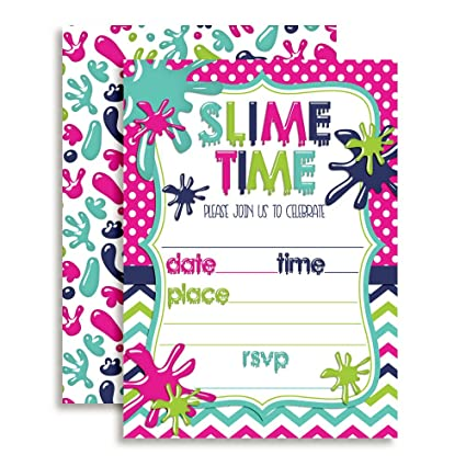 amazon com slime birthday party invitations for girls 20 5 x7