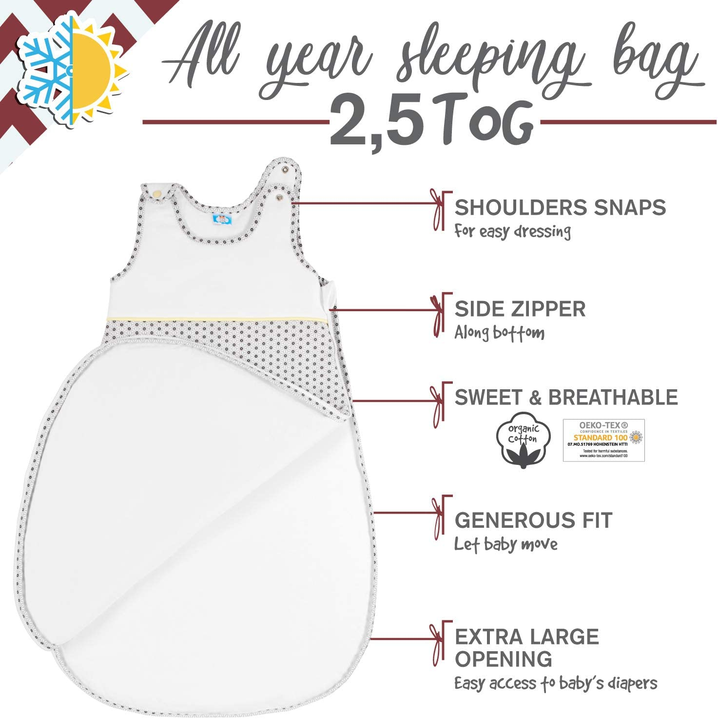 6-12 Months 80 cm by Sweety Fox Comfortable Sleeping Bag 2.5 Tog French Design Chemical- Free Guaranteed Organic Cotton Soft Baby Sleeping Bag 4 Seasons Safe Nights for Toddlers