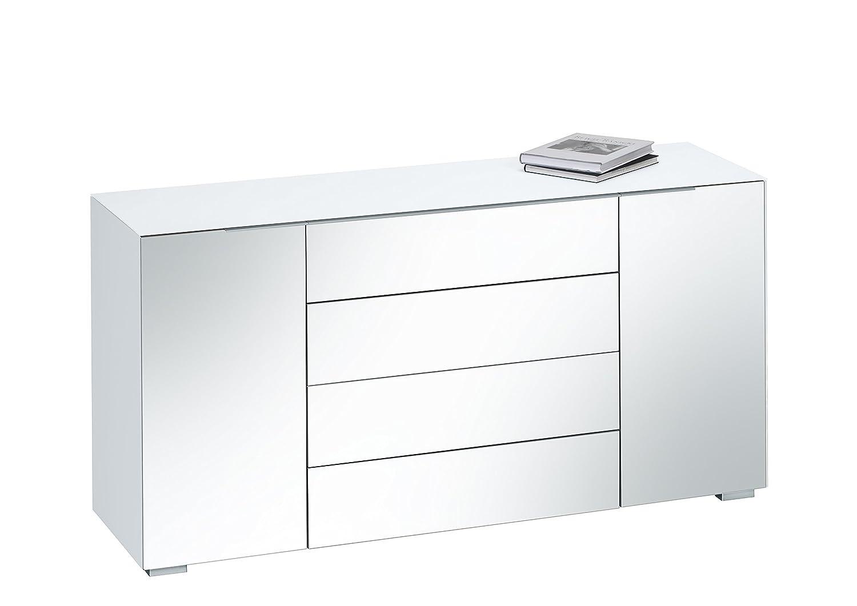 MAJA Möbel 7216 3601 Kommode, weißglas matt / grauspiegel, Abmessungen 159 x 79,40 x 46,20 cm