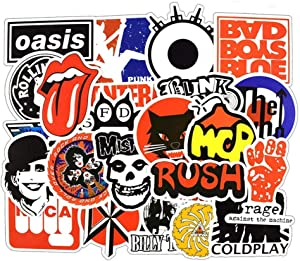Car Stickers [50 Pieces], Laptop Stickers Motorcycle Bicycle Skateboard Luggage Decal Graffiti Patches Stickers for Laptop [No-Duplicate Sticker Pack] (Rock Music)