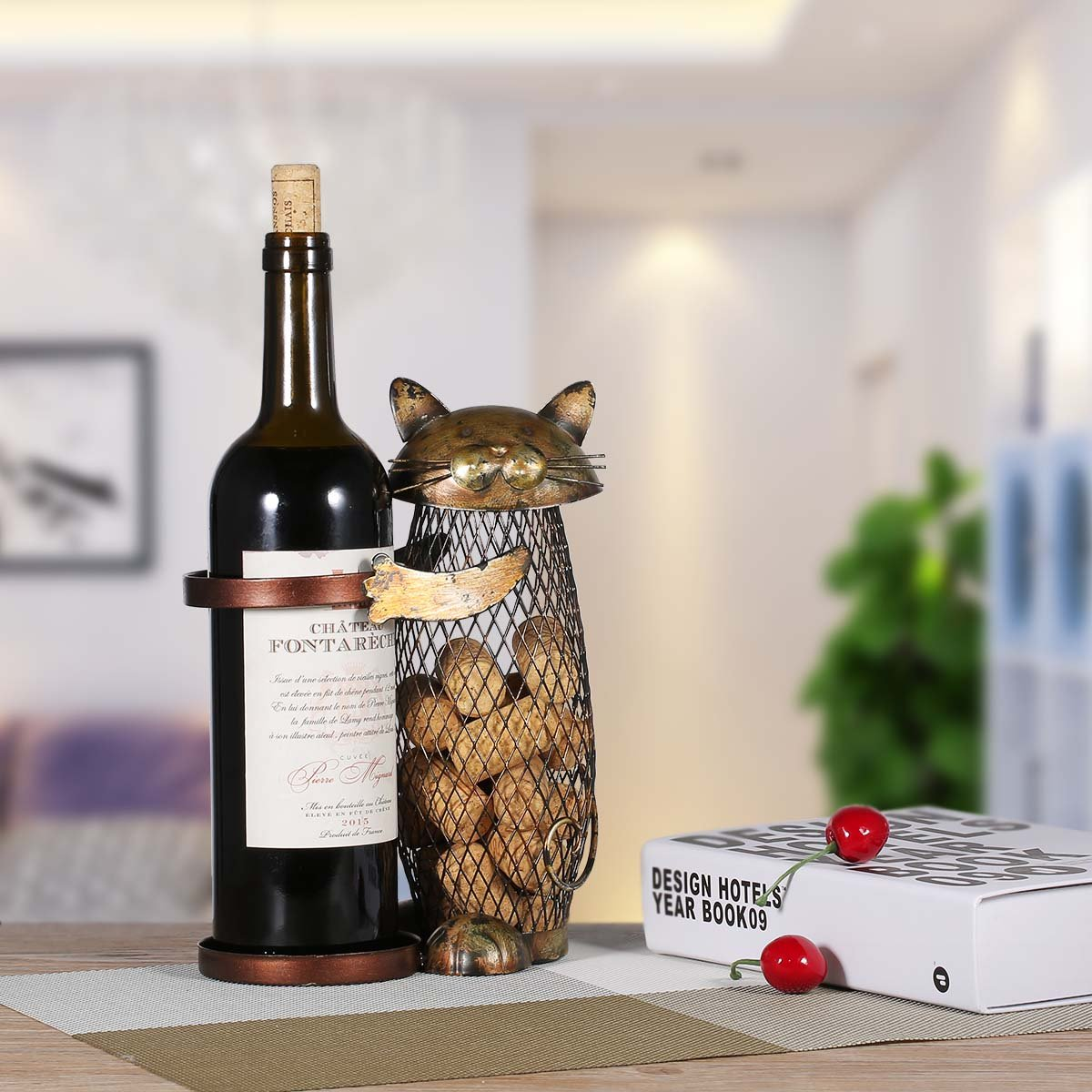 Tooarts Cat Wine Holder Cork Metal Wine Barrel Cork Storage Cage Table Cork Container Ornament by Tooarts (Image #7)