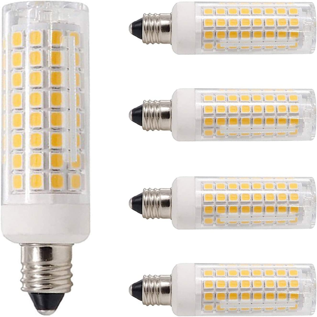 AC110V// 120V// 130V Replaces T4 //T3 JD e11,Pack of 4 Dimmable 850 Lumens Warm White 3000K Mini Candelabra Base 80W or 100W Equivalent Halogen Replacement Lights E11 Led Bulbs All-New- 102LEDs