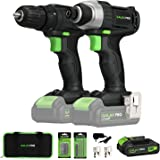 20V Max 2 speeds Drill Driver and Impact Driver Combo Kit, GALAX PRO Cordless Drill Driver/Impact Driver with 1pcs 1.3Ah…