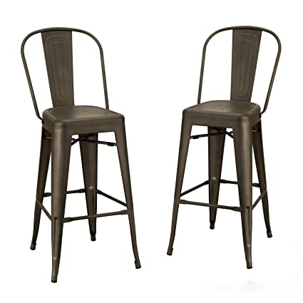 Amazoncom Joveco 30 Inches Industrial Chic Metal Barstool With