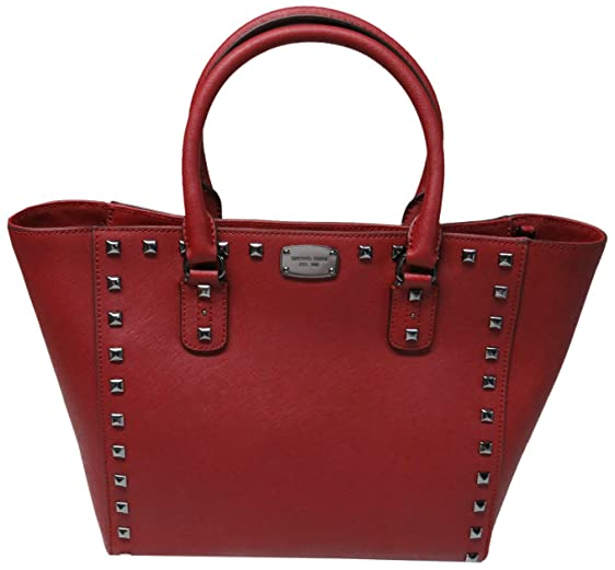 30d83be6b193 ... sale michael kors saffiano leather large stud tote cherry b4110 ff5c8