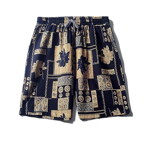 9e3ba587b1 BFYOU 👍👍 Men's Linen Shorts Sports Work Casual Printed Beach ...