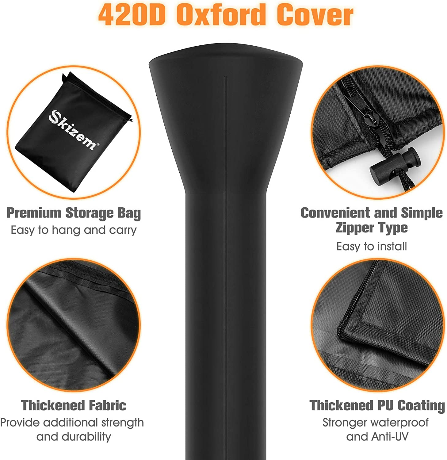 Skizem 2 Pack Outdoor Patio Heater Covers with Zipper,Upgraded 420D Oxford Fabric with PU Coating Material,100/% Waterproof Windproof Anti-UV Snow-Poof,36 Months of Use 89 H x 33 D x 19 B