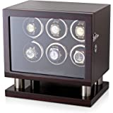 Watch Winder for 6 Watches with LED Backlight, LCD Display and Motor-Stop Option