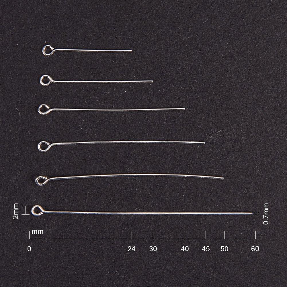 PandaHall Elite Trou: 2mm 16x0.6mm Clou Tete Ronde Lot de 1 Boite 304 Acier Inoxydable Epingle Sets en Forme de 9 Couleur de Acier Inoxydable