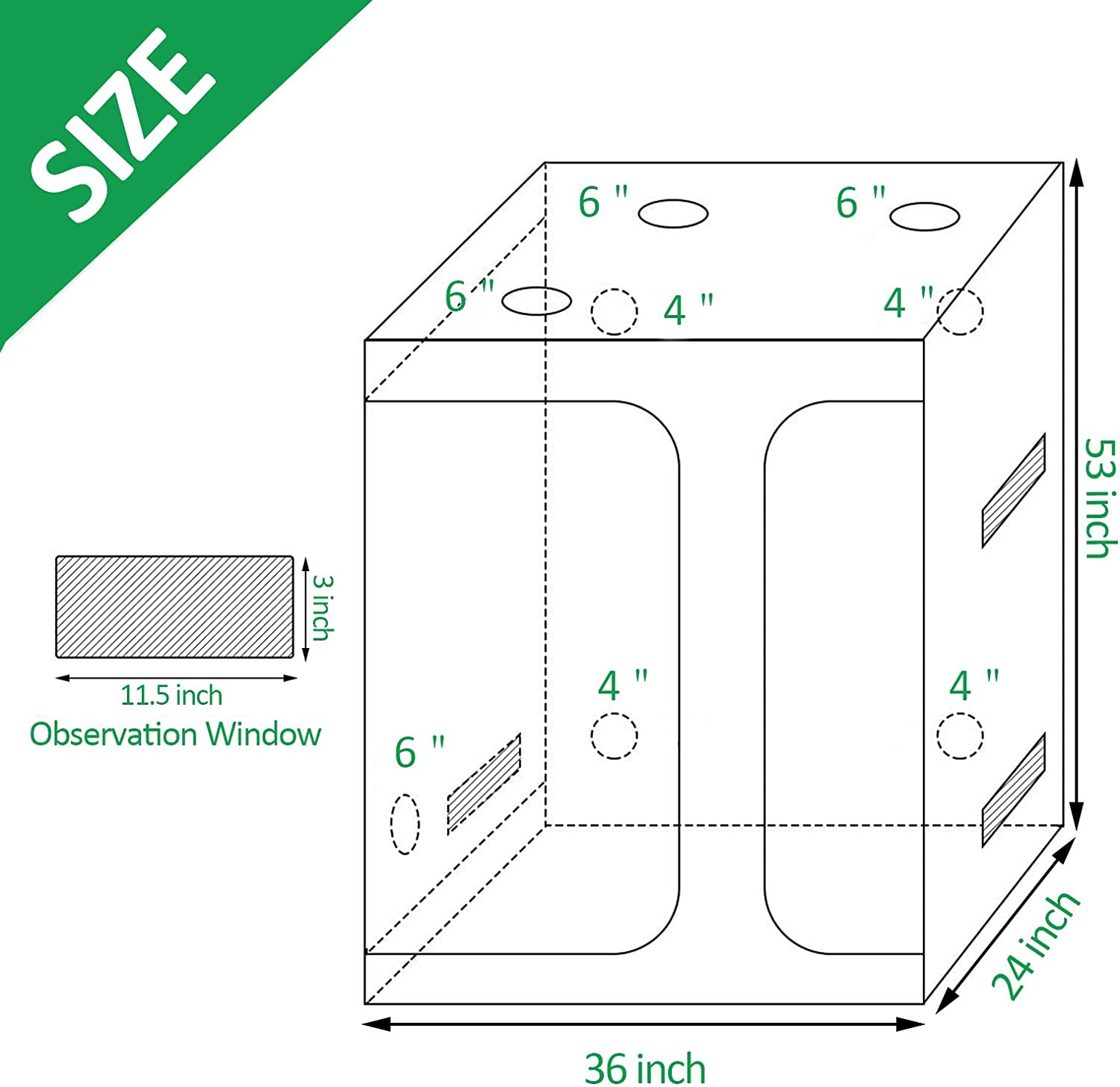 36 x 24 x 53 inch Indoor Growing System with Observation Window Tool Bag Flowers Lovinouse 2 in 1 Mylar Hydroponic Grow Tent Grow Tent Kit for Vegetables