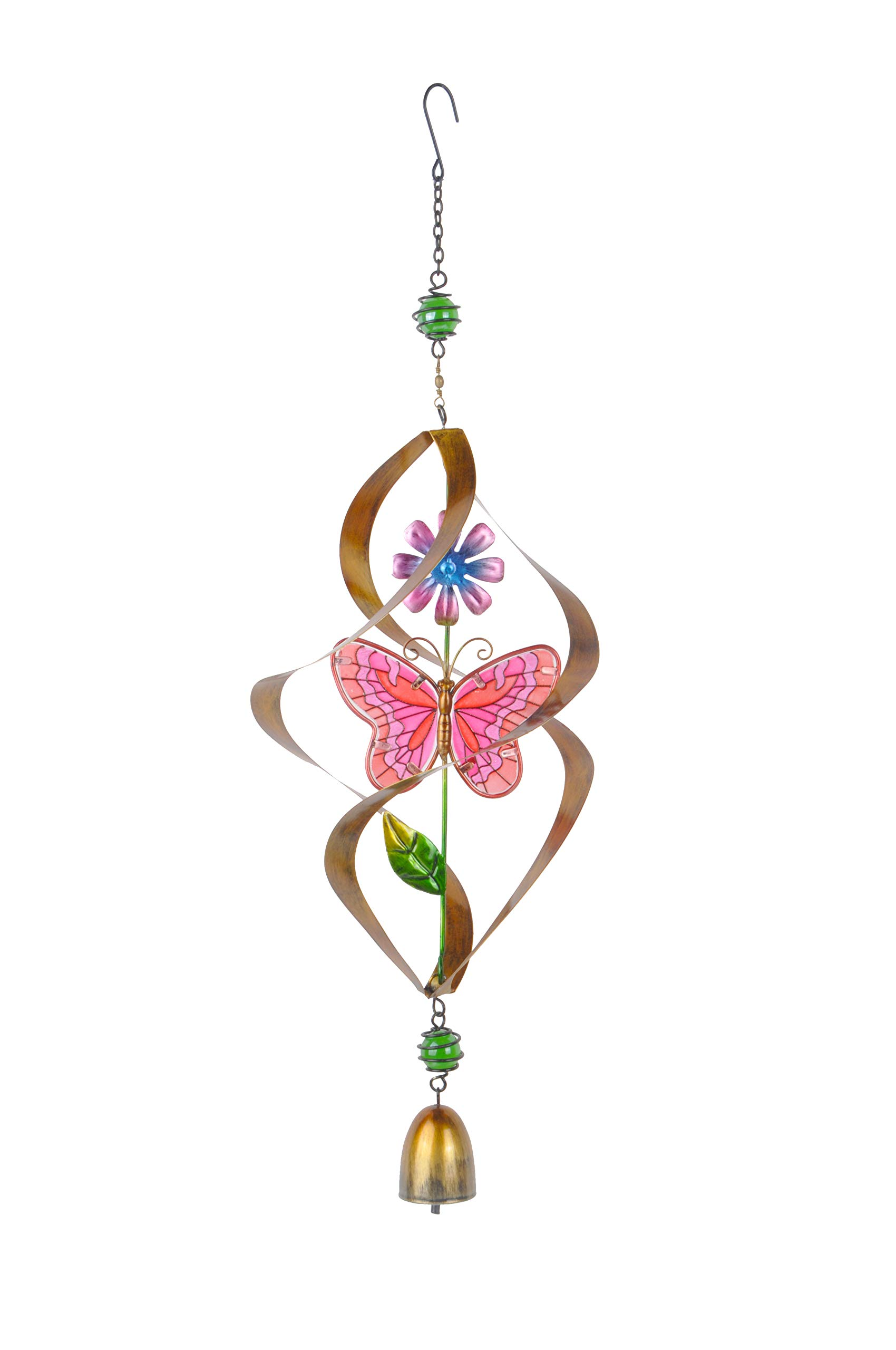 Continental Art Center Inc. CAC3208851A Pink Metal and Glass Spinning Butterfly Suncatcher Wind Chime, Sun Catcher
