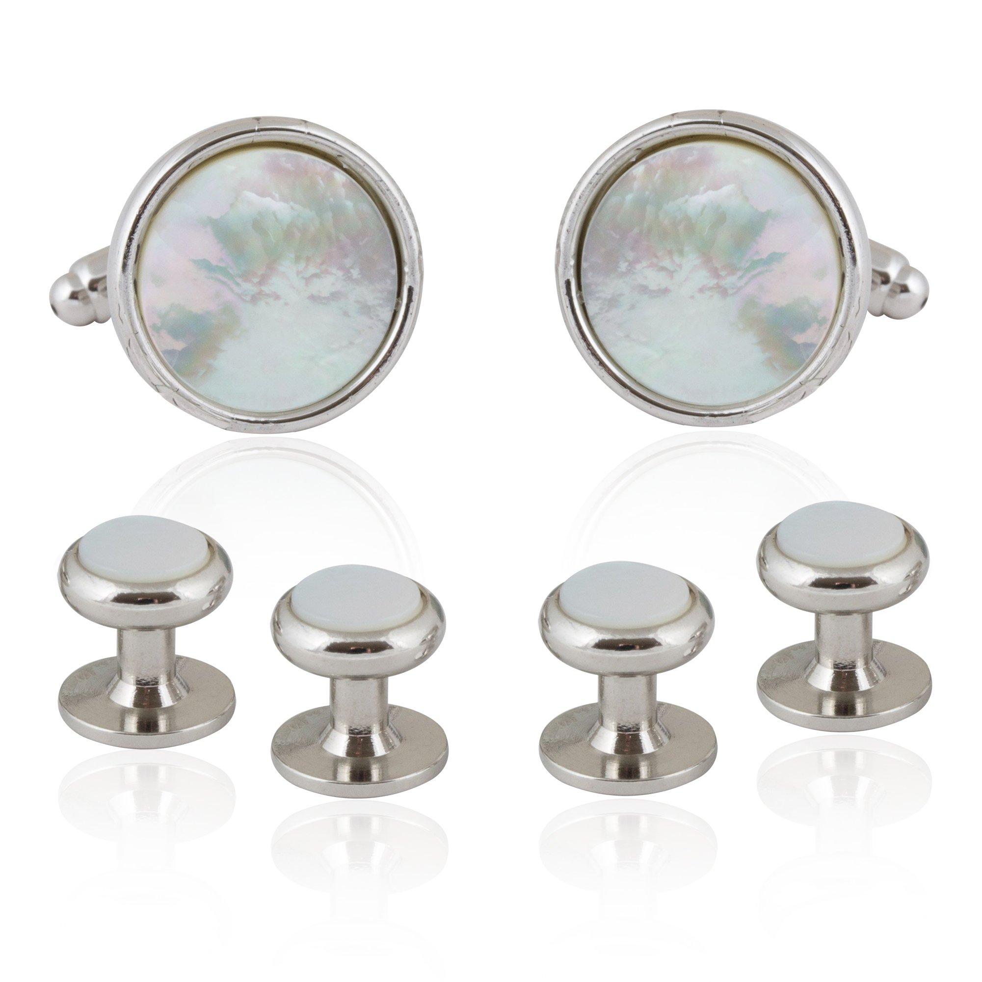 Cuff-Daddy Silver and Mother of Pearl Tuxedo Cufflinks Studs Formal Set with Presentation Box