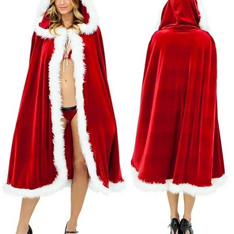 Amazon.com: shinieny Christmas Costume Santa de terciopelo ...