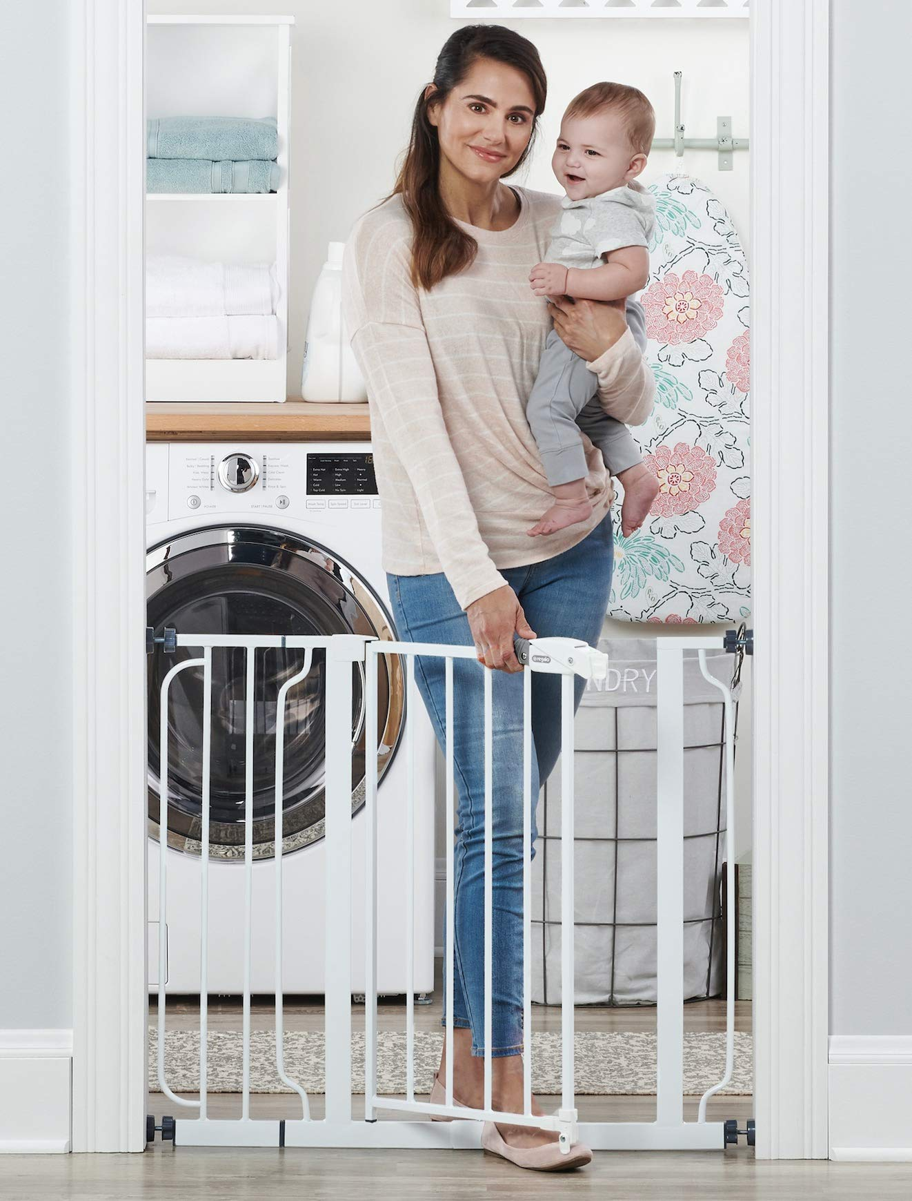 Regalo Easy Step 38.5-Inch Extra Wide Walk Thru Baby Gate, Includes 6-Inch Extension Kit, 4 Pack Pressure Mount Kit, 4 Pack Wall Cups and Mounting Kit by Regalo