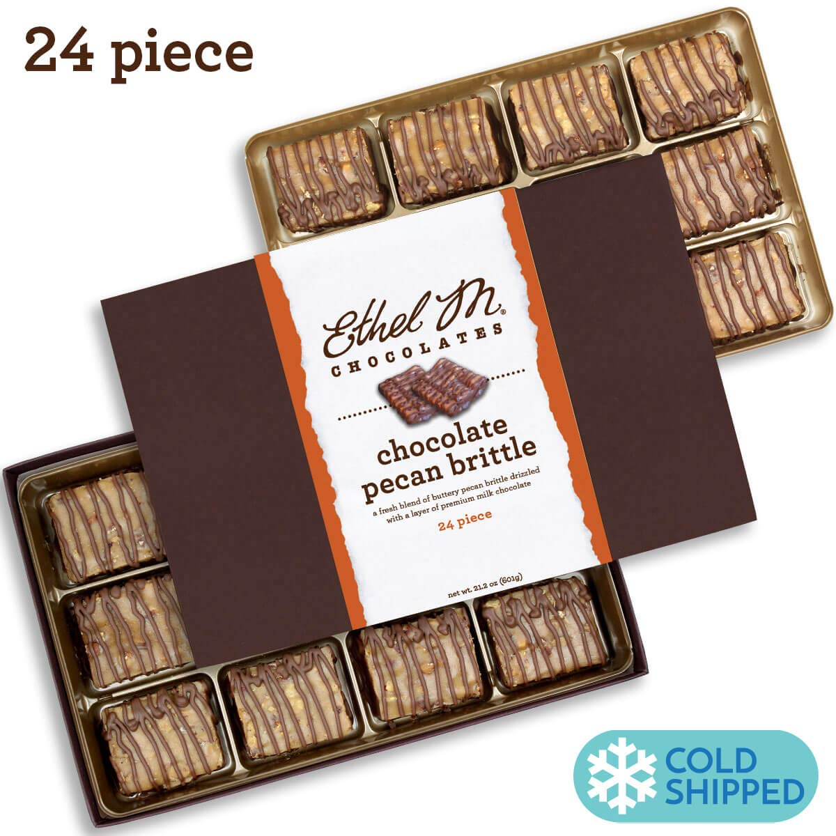 Ethel M Chocolates Chocolate Covered Pecan Brittle 24 piece by Ethel M. Chocolates