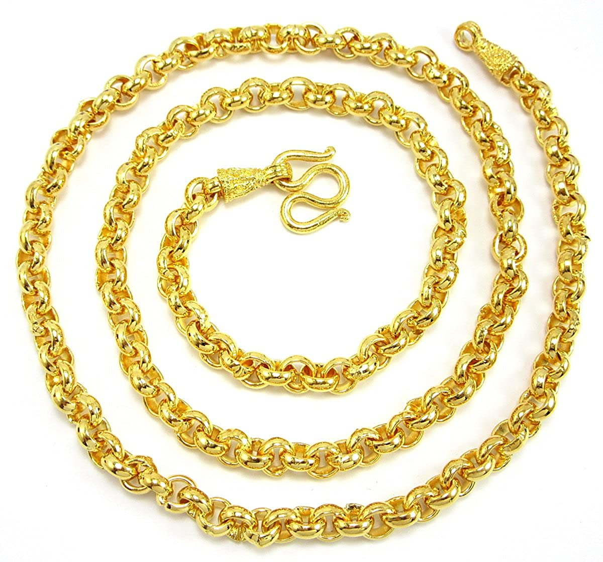 "Bangkok Bazaar Classy Thai Classic Design 25"" Men Baht Chain Jewelry 24k Gold Plated Necklace Thailand"