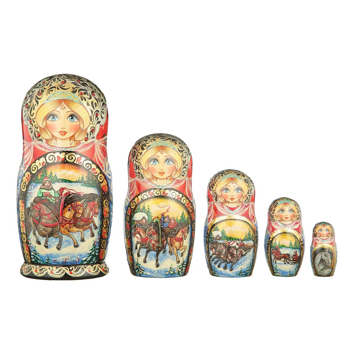 danila-souvenirs Russian Wooden Nesting Dolls Hand Painted Matryoshka 5 pcs Set Winter Troika 7.5'' by danila-souvenirs (Image #1)