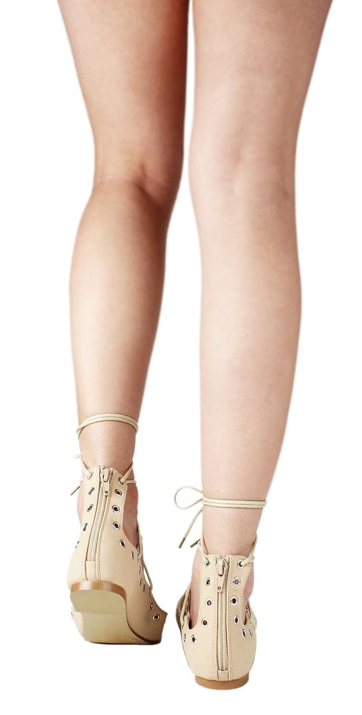Women Lace Up Cut Out Ankle Cuff Dress Ballet Flats B01FBJENTI 7.5 B(M) US|Nude_r-1