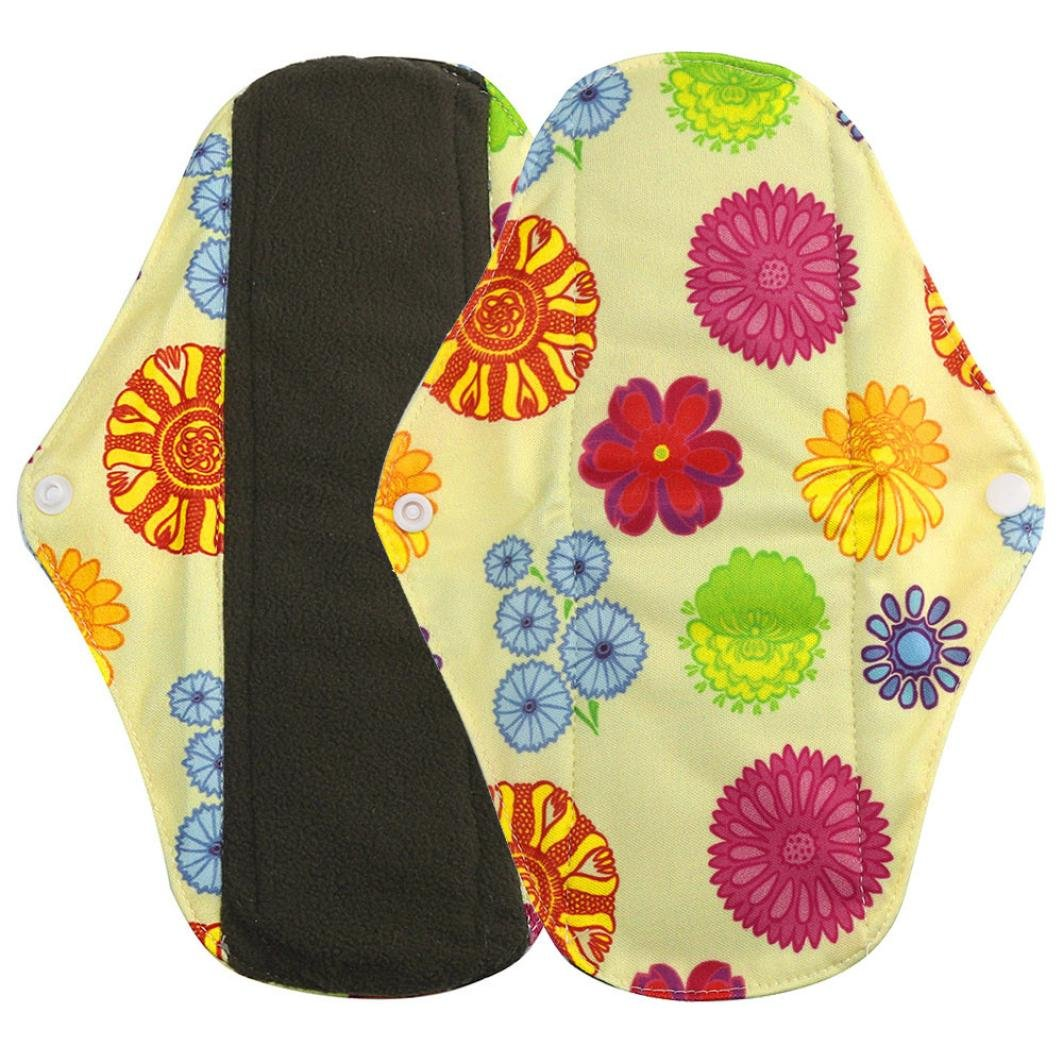 Menstrual Pad,Sainagce Reusable Bamboo Lovely Pattern Printed Cloth Washable Comfortable Menstrual Pad Mama Sanitary Towel Pad Better for the Environment (S, Multicolor) Saingace JA-1700