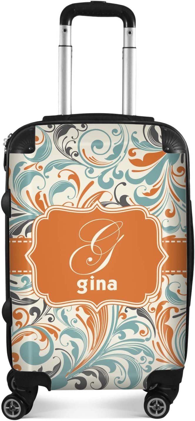 Personalized Orange /& Blue Leafy Swirls Suitcase 24Medium Checked