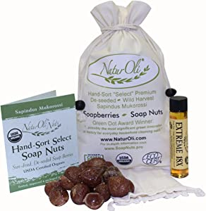 NaturOli Soap Nuts/Soap Berries- Sale- 1/2-Lb USDA Organic (120 Loads) + 18X Bonus! (12 Loads) Select Seedless. Wash Bag, Tote Bag, 8-pg info. Organic Laundry/Natural Cleaner. Processed in USA!