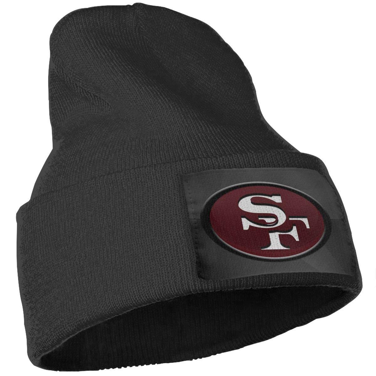 Black StubWandabs Unisex Adult Knit Hat Cap San Francisco 49ers Wallpaper Warm Winter Hats
