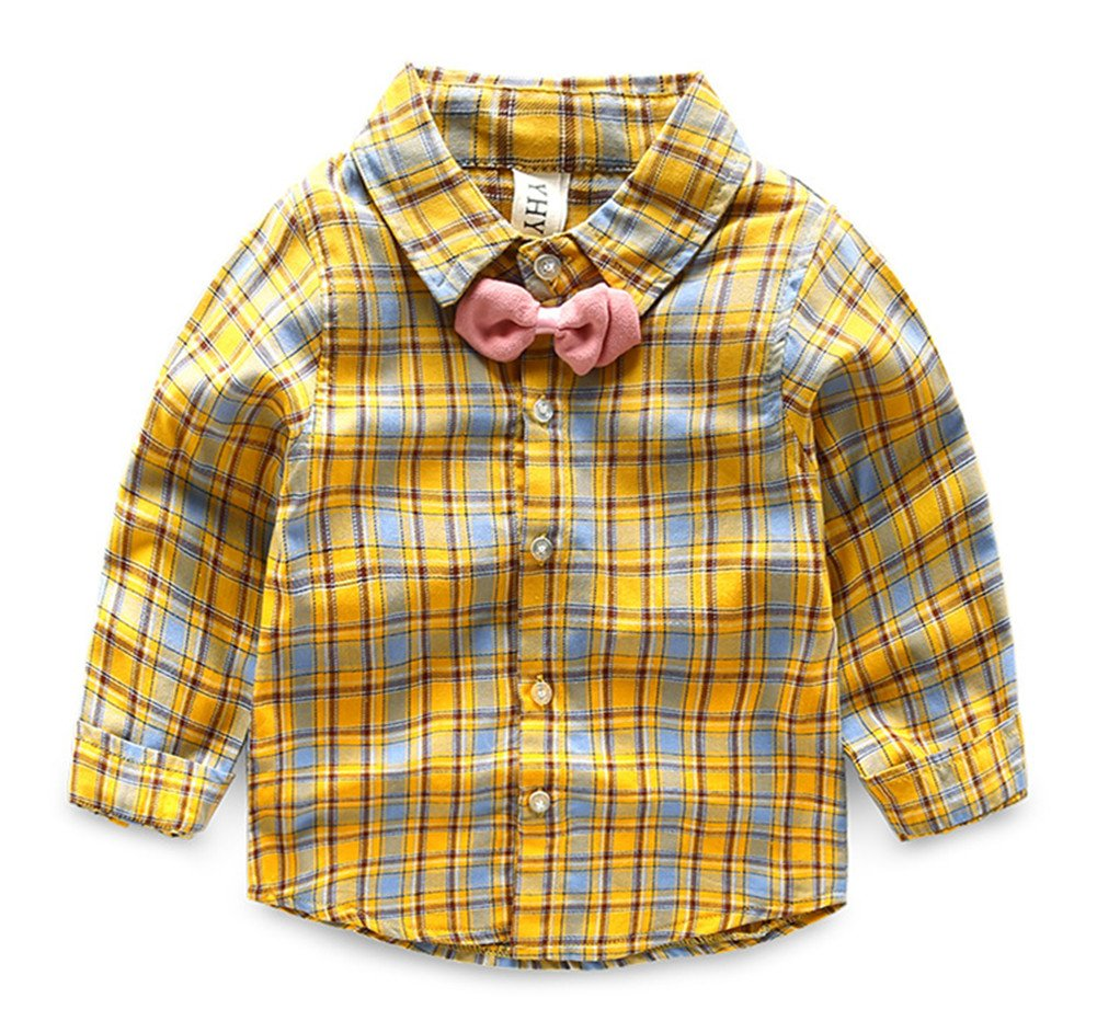 Beide Kids Boys Plaid Long Sleeve Cotton Shirt with Bowtie(Yellow,6T