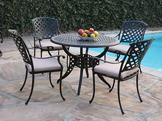 Dining Set Kawaii Collection Cast Aluminum Outdoor Patio Furniture 5 Piece MLV110T CBM1290