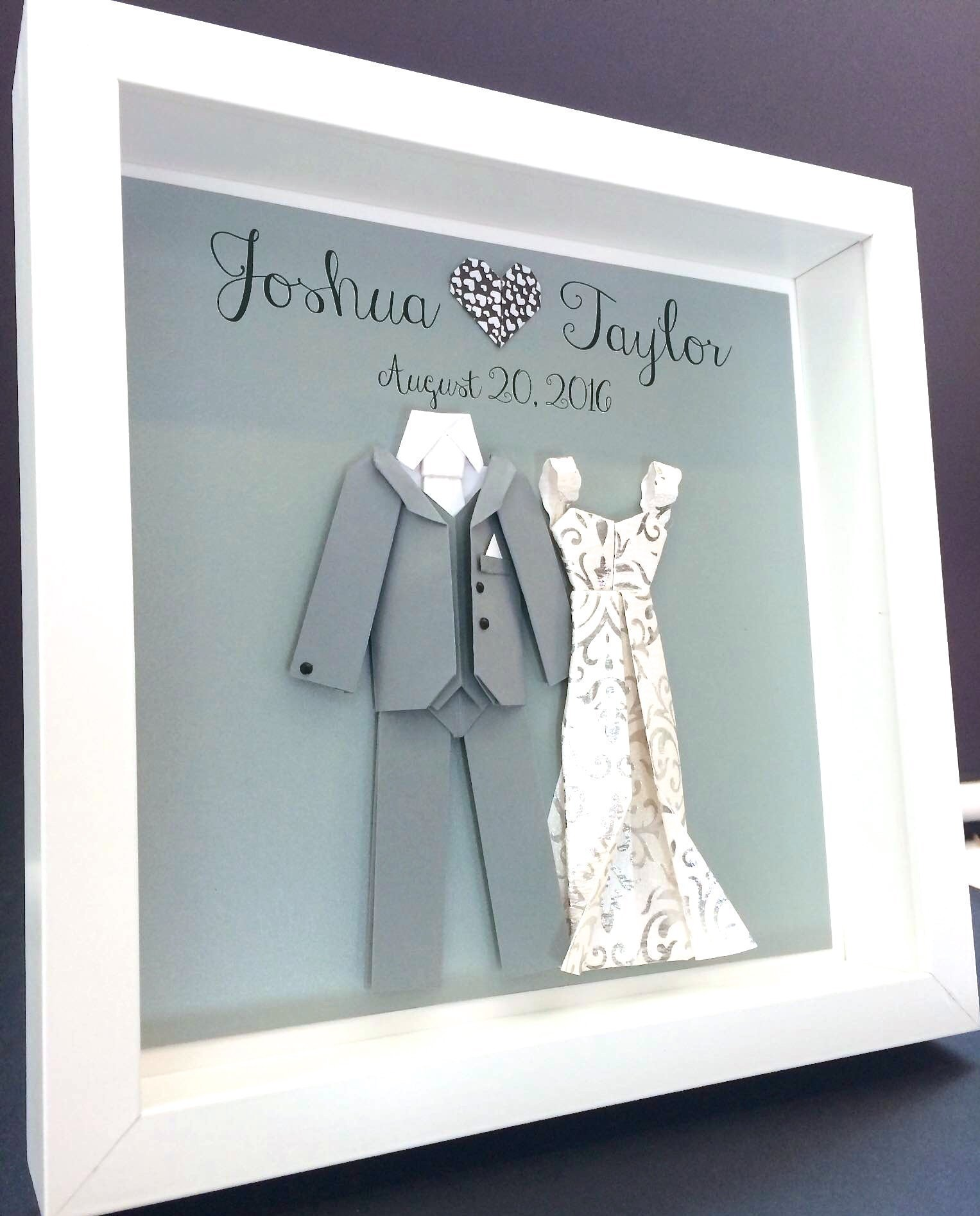 Personalized Wedding Gift, First Anniversary Gift, Engagement, Bridal Shower Paper Origami Bride & Groom Shadowbox Frame Custom Wall Art Gift