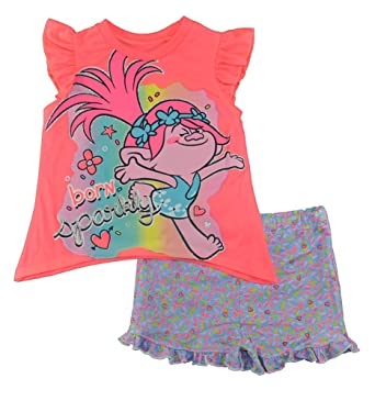 f634e2d5 Trolls Little Girls Toddler Coral & Multi Color Two-Piece Short Set ...
