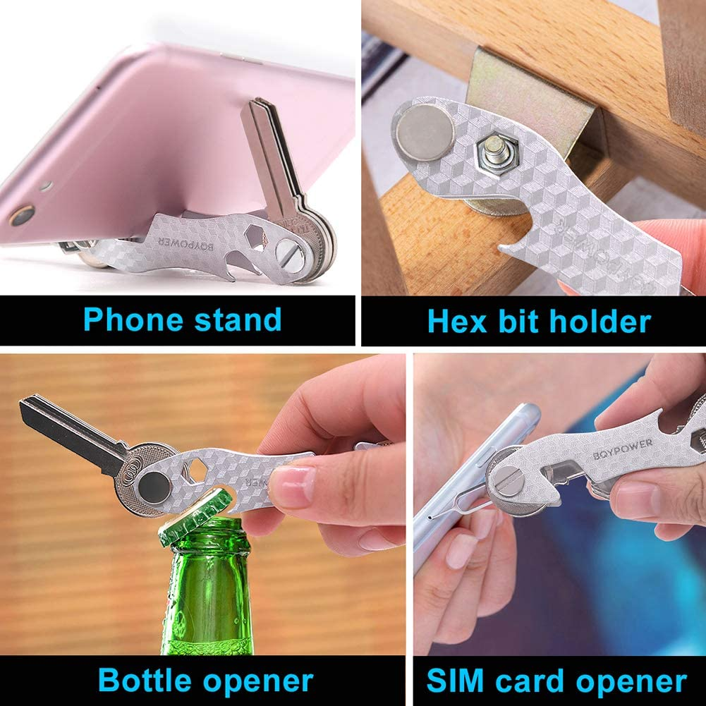 Silver Carabiner /& More Includes Sim /& Bottle Opener Phone Stand Smart Compact Key Organizer Keychain /& Stainless Steel- Pocket Key Holder Up to 22 Keys- Loop Piece for Car FOB