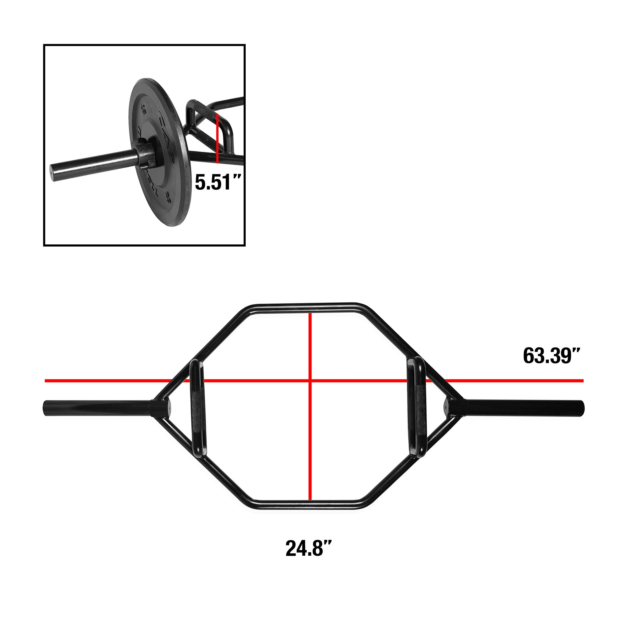 CAP Barbell OB-91HB Cap Mega Olympic Trap Bar, Shrug Bar, Hex Bar with Combo Neutral Grips and Black Finish, Black, Combo Neutral Grips by CAP Barbell (Image #2)