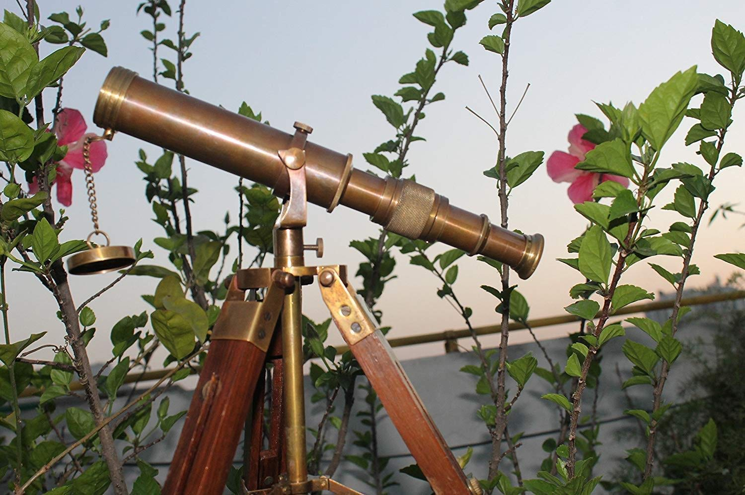 Arsh Nautical Vintage Antique Decorative Table Classy Brass Telescope with Adjustable Tripod Stand A
