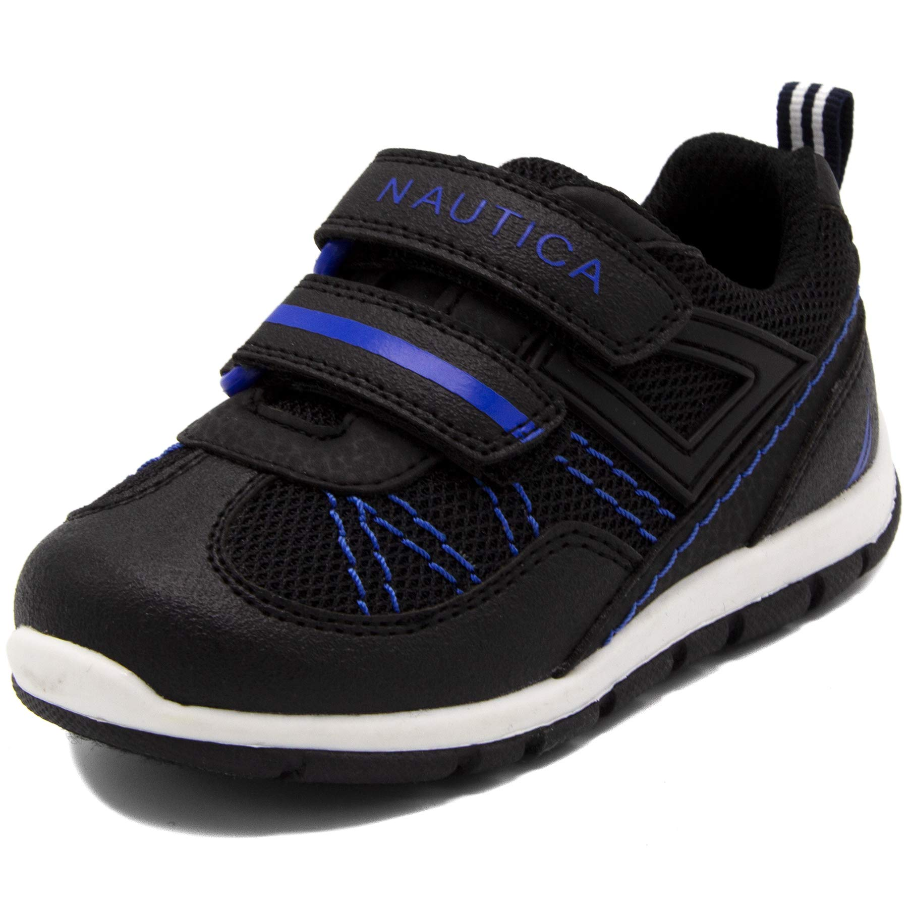 Nautica Kids Averell Sneakers Double Strap Casual Athletic Shoes-Black/Cobalt-9