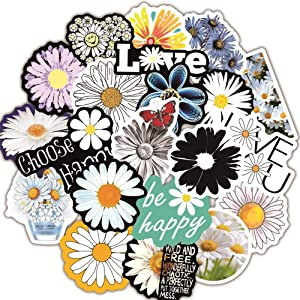 50 Pcs Cute Daisy Laptop Stickers,Trendy Aesthetic Flowers Stickers for Water Bottle Laptop Flasks MacBook Luggage Refrigerator Car Helmet Bicyle,Waterproof Vinyl Stickers for Kids Boys Girls Teens.