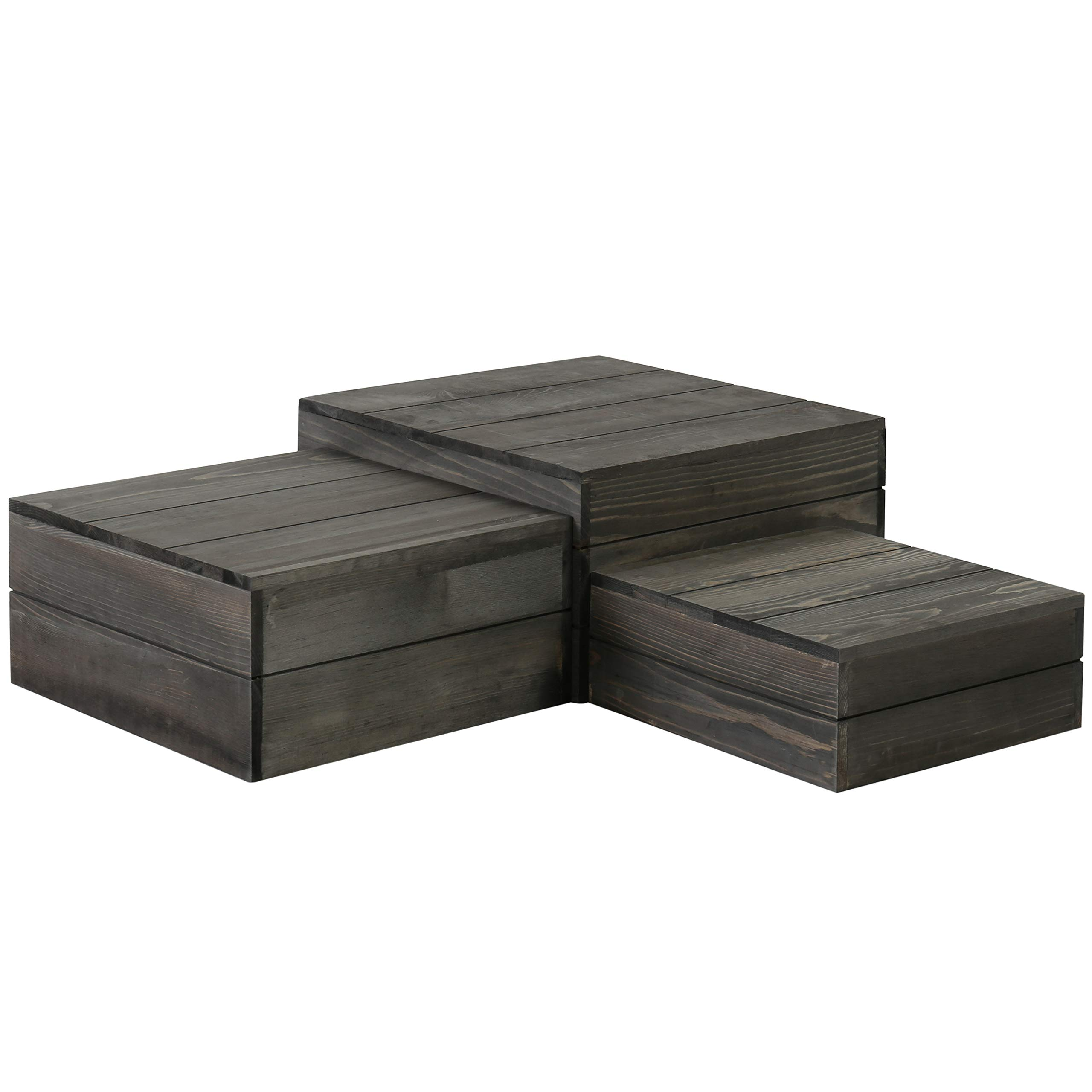 MyGift Rustic Gray Wood Crate Display Risers, Set of 3 by MyGift (Image #4)