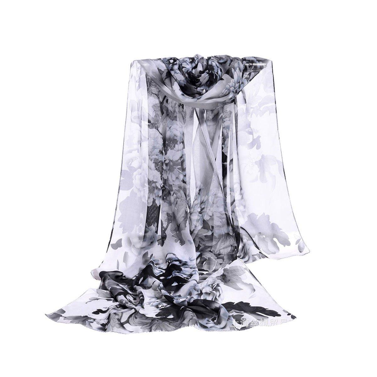 E-Clover Women Soft Floral Print Shawl Chiffon Sheer Scarf (Black&white)