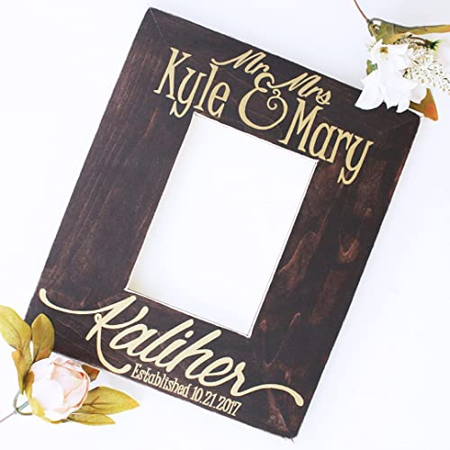 Amazon.com: Mr and Mrs Last Name Frame, 4x6 or 5x7 - Wedding or ...