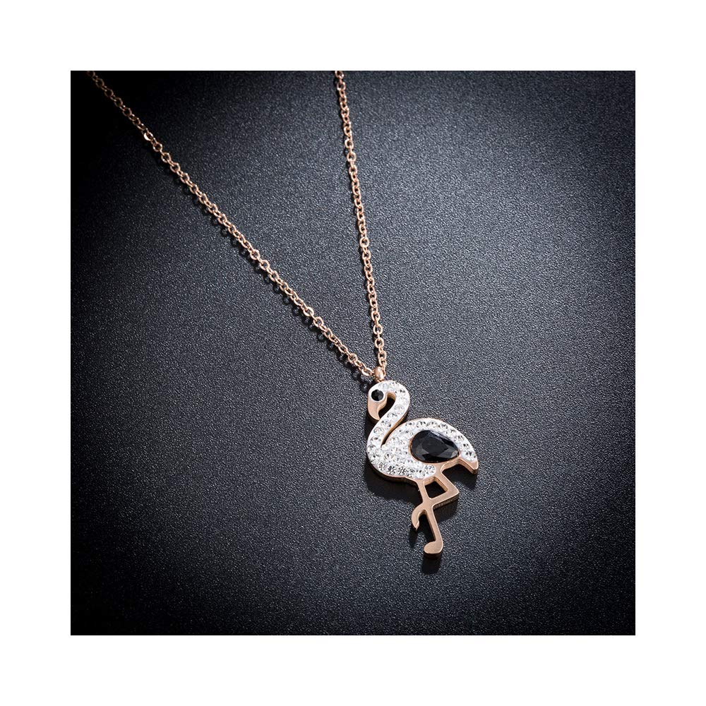 WLLAY Cute Red Crystal Flamingo Pendant Necklace for Women Gold Color Animal Bird Chain Necklace Fashion Jewelry Gifts