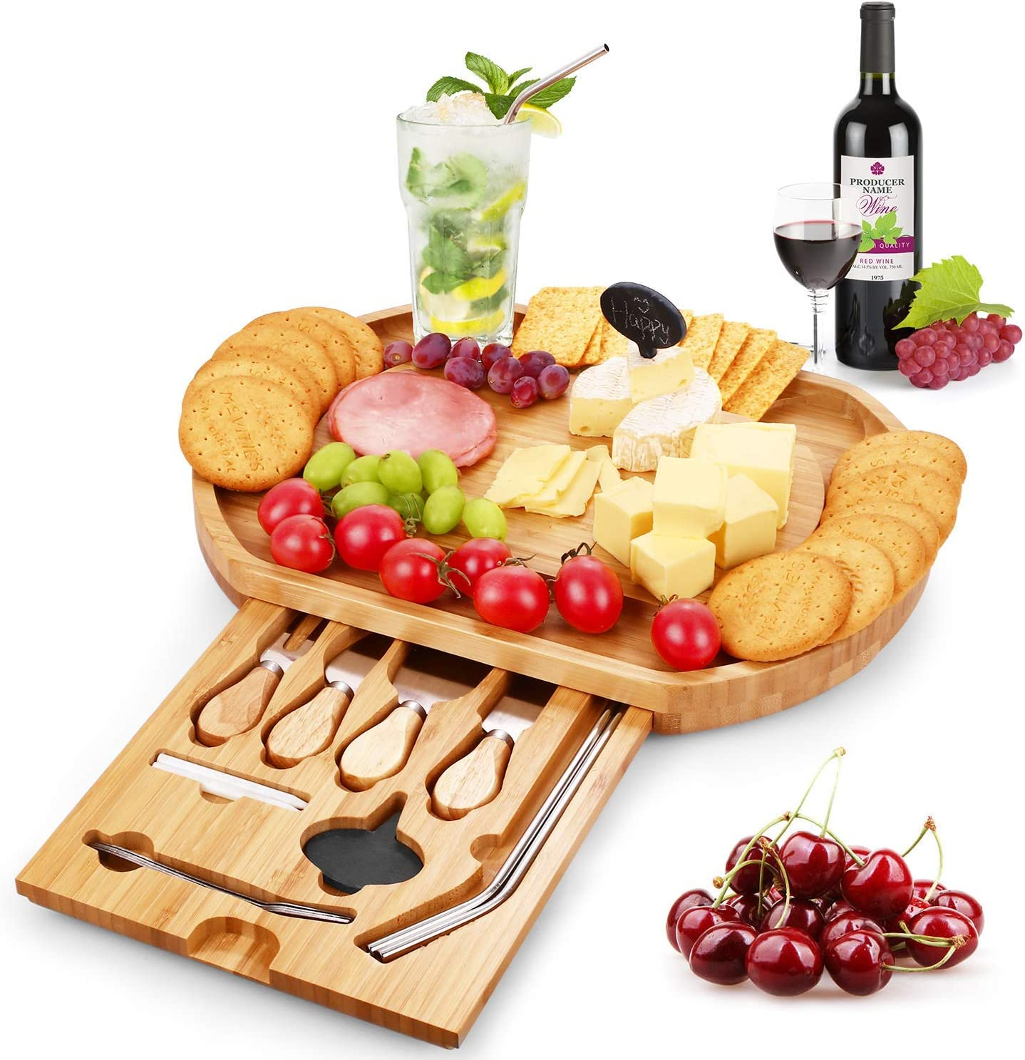 Duerer Cheese Board Set, Meat and Cheese Tray With Cutlery In Slide-Out Drawer - Bamboo Charcuterie Platter for Crackers, Brie and Meat - Best Gift for Christmas, Valentine, Birthday (Include Straws)