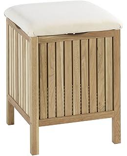 Badhocker mit wäschetruhe  Wäschekorb 2er Set aus Bambus mit Sitzfläche: Amazon.de: Küche ...