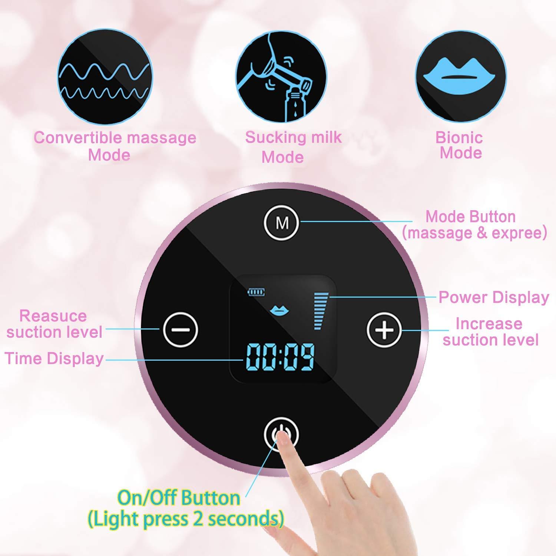Tire-lait /électrique Pompage Rechargeable Affichage LCD Num/érique,Massage et Aspiration 2 en 1 violet#1