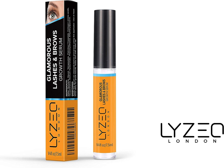 Lyzeo Glamorous Lashes & Brows | Suero para el crecimiento de pestañas y cejas natural con péptidos y colágeno para pestañas más largas, gruesas, más completas y cejas | Orgánico y sin crueldad
