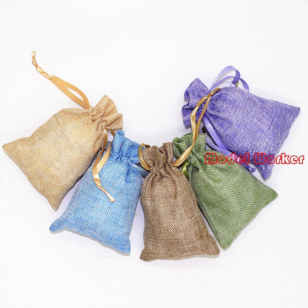 """M-W 25PCS 4"""" x 6"""" multicolor Burlap Gift Bag with"""