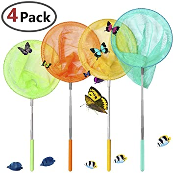 VIPITH 4 Packs Colorful Kids Telescopic Butterfly Net, Extendable 34 Inches and Anti Slip Grip, Perfect for Catching Bugs Insect Small Fish