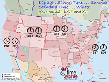 Amazon.com: Home Comforts Laminated Map - Map Showing Time Zones in ...