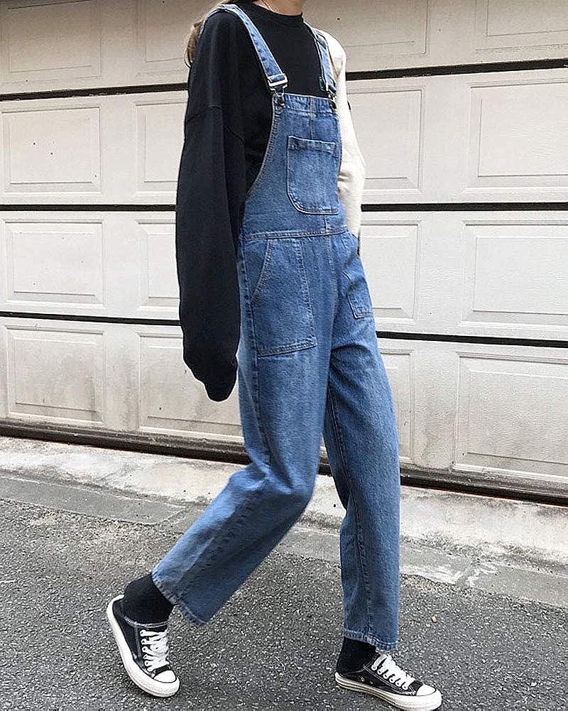 Damen Denim Tasche Gerades Bein Latzhose Freizeit Jeans Hosen Overall
