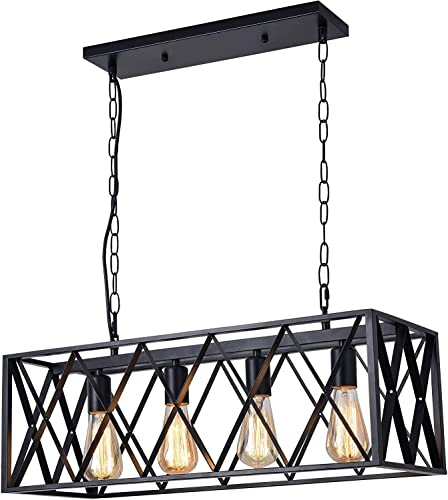 Ganeed Farmhouse Chandelier,4 Lights Kitchen Island Pendant Lighting,Rectangular Vintage Dining Room Chandeliers, Pool Table Light,L54.8 W9.8 E26 Sockets