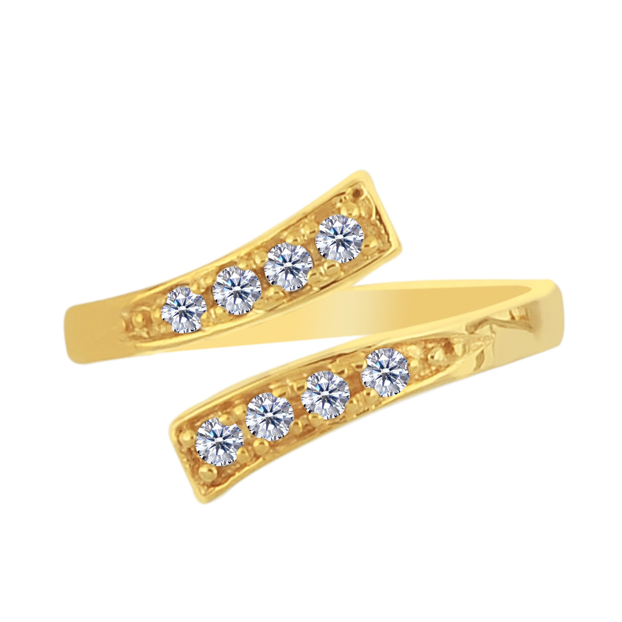14K Yellow Gold Crossover With CZ Stones By Pass Style Adjustable Toe Ring by Jewelry Affairs
